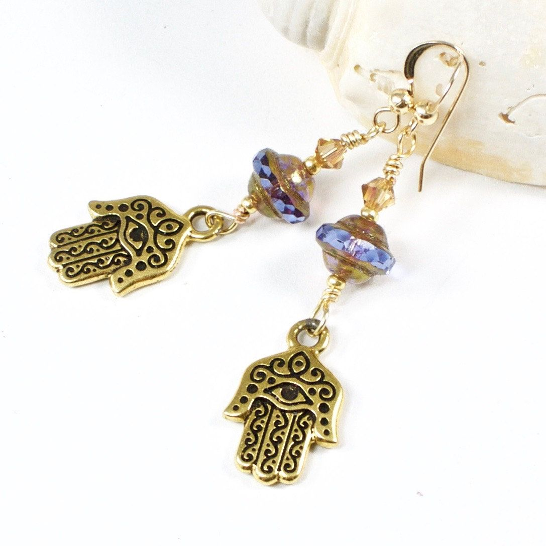 Gold Hamsa Earrings Evil Eye Jewelry Hand of Fatima Earrings