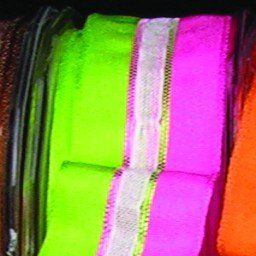 Green and Pink Narrow Taffeta with Sheer White Stripe Wired Craft Ribbon 22mm x 108 Yards -- Continue to the product at the image link.
