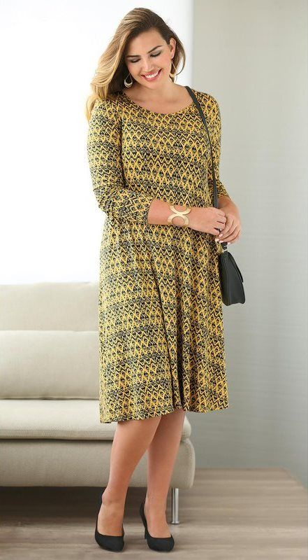 Robe imprimée évasée manches longues femme Exclusivité 3SUISSES - Imprimé  Jaune Moutarde ef63c731c6b