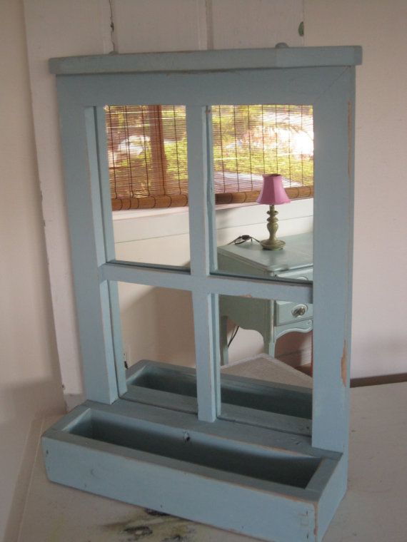 english cottage wood window mirror with box gw thrift shop
