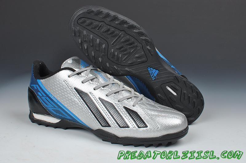 brand new 0dde4 1c475 Silver Black Blue Adidas F10 TRX TF Messi 7