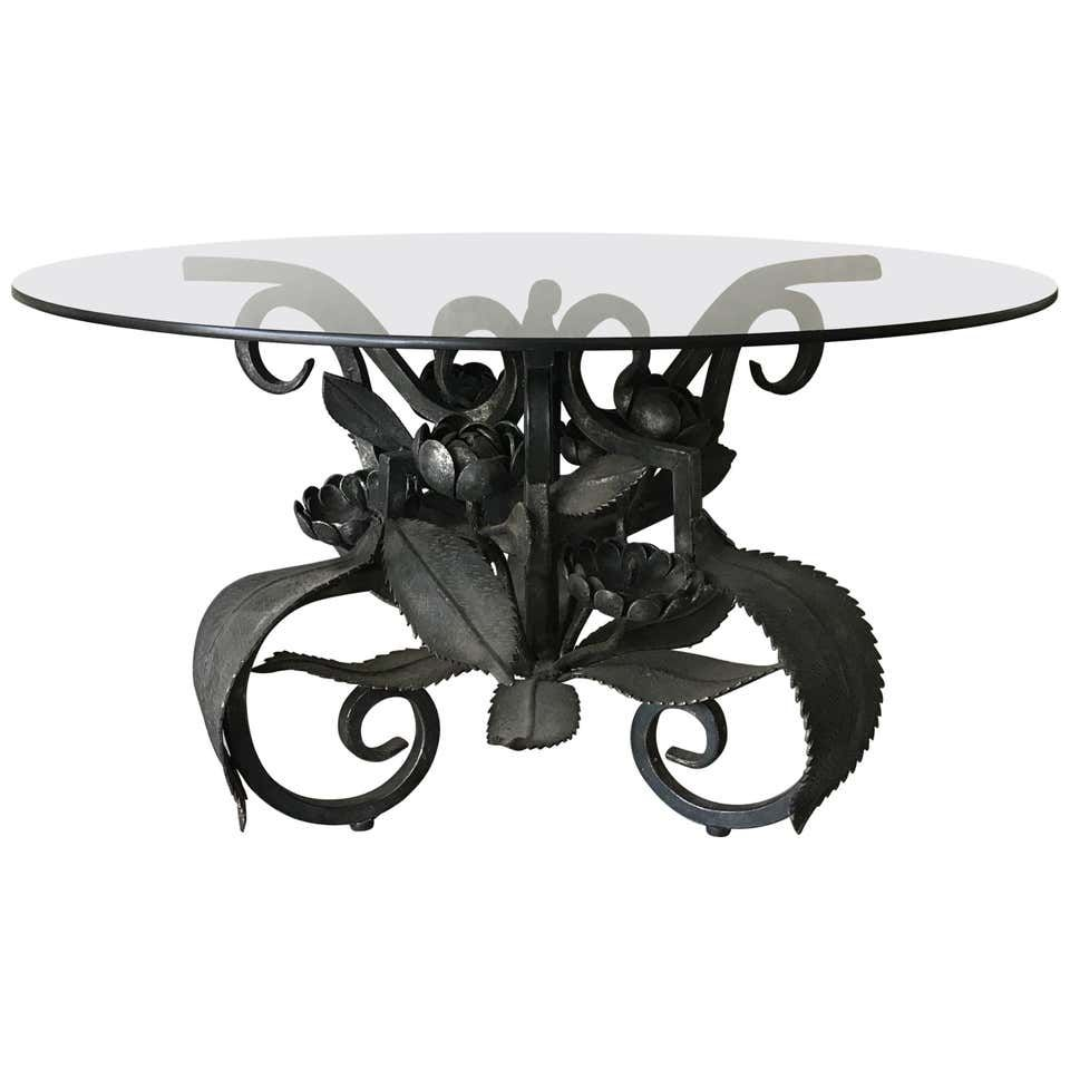 Midcentury Wrought Iron With Round Circular Glass Top Coffee Or Cocktail Table Round Coffee Table Modern Glass Top Table Iron Coffee Table [ 960 x 960 Pixel ]