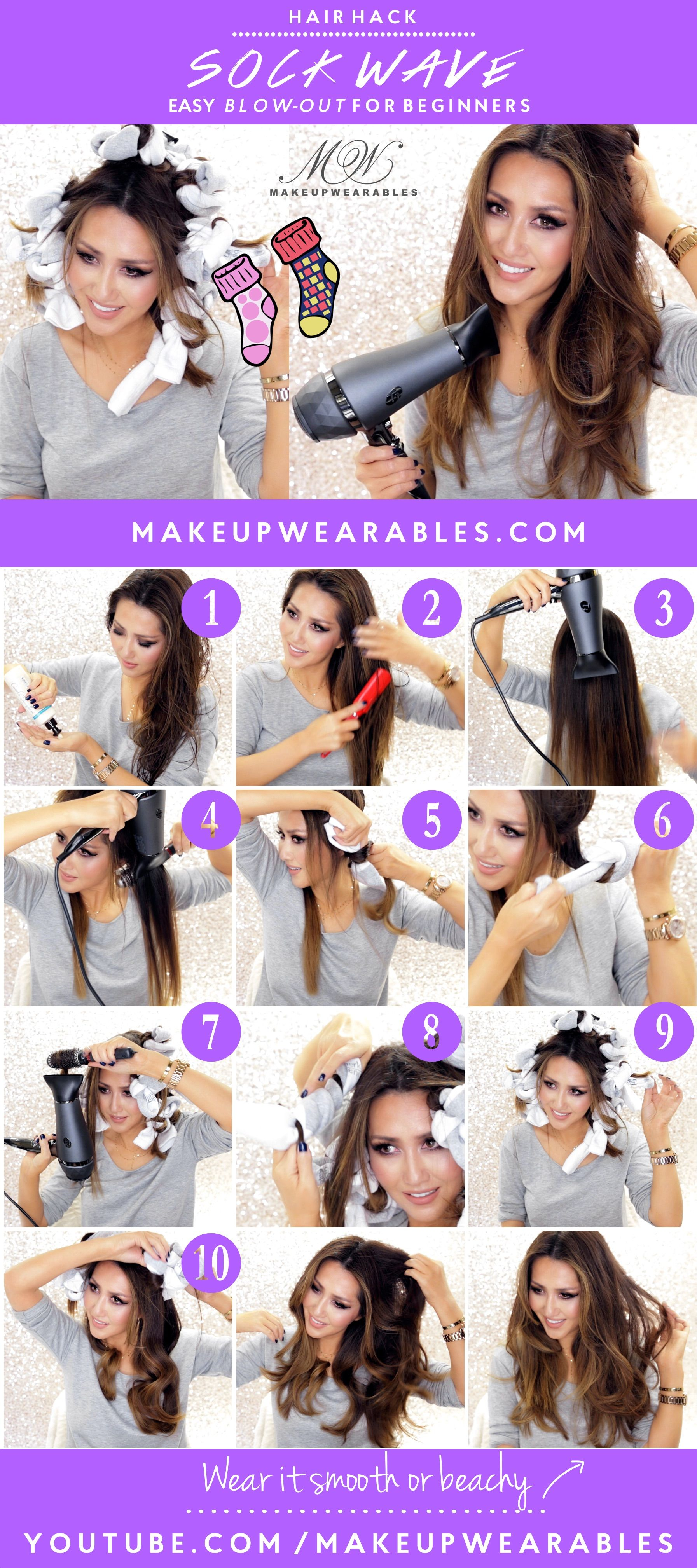 Hair Hack Kylie Jenner Waves With An Easy Sock Blow Out How To Curl Your Hair Hair Hacks Curled Hairstyles