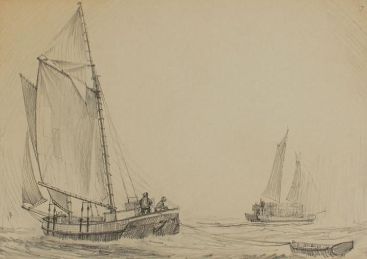 Gilkerson William American 1936 Sketch For Quot Scow