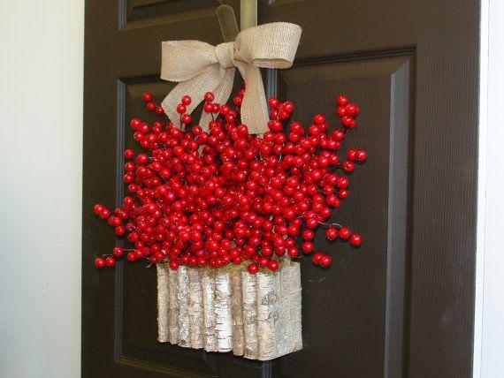 christmas wreath holiday wreath fall wreath autumn wreath thanksgiving wreath greetings seasons decorations red berry wreath birch bark wreath birch
