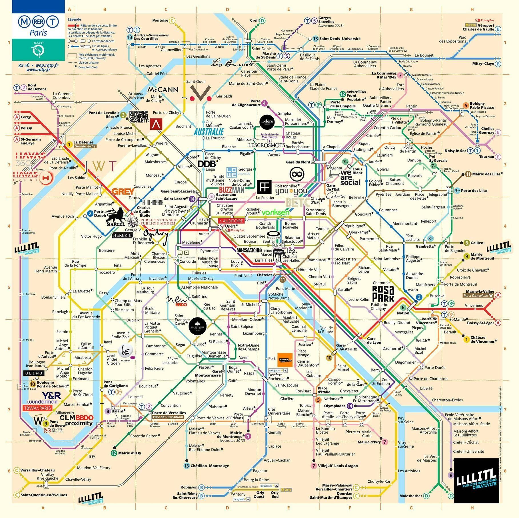 Agences De Pub Comm Paris Travel Underground Map Paris Metro