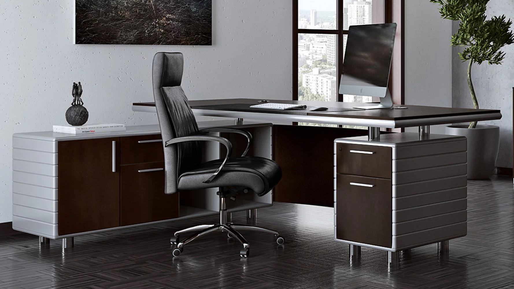 Kennedy Dark Wood Executive Desk With Return Modern Contemporary Office Zuri Office Furniture Modern Modern Home Office Furniture Office Furniture Design