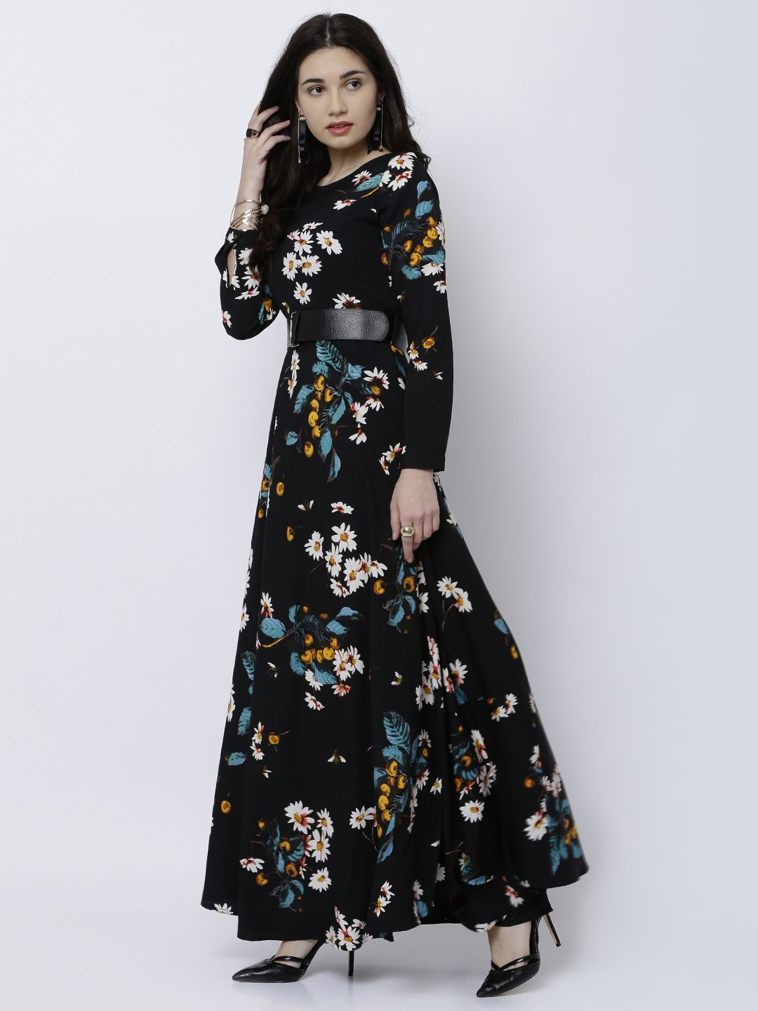 8a73ad0cee0 Tokyo Talkies Black Printed Maxi Dress  Black Polyester Printed Party