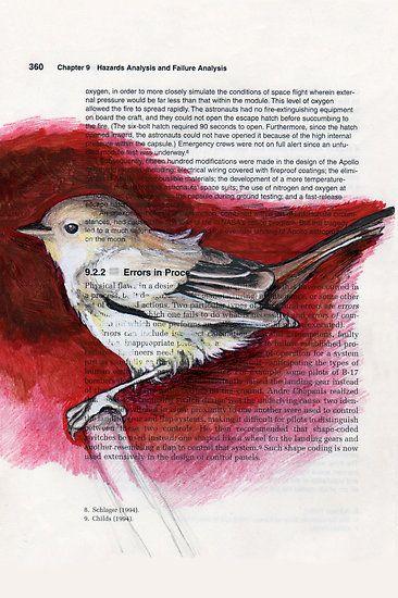 Watercolor Paintings In Books Bird Art Book Page Art Medium Art