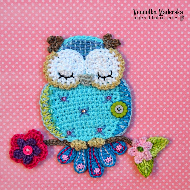 Crochet pattern - owl applique - by VendulkaM crochet, digital ...