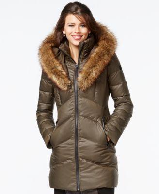 cbd5ce6a3 kensie Faux-Fur-Trim Shawl-Collar Quilted Coat | macys.com | Coats ...
