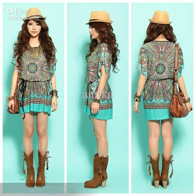 Wholesale New Fashion Ladies' Vintage Peacock Print Bohemian Mini ...