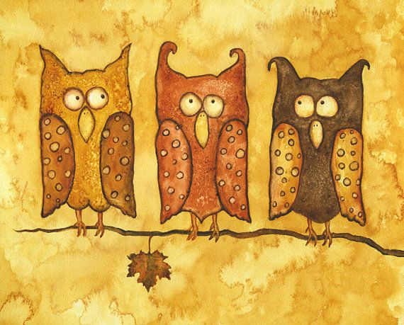 owl birds print gold whimsical art owls