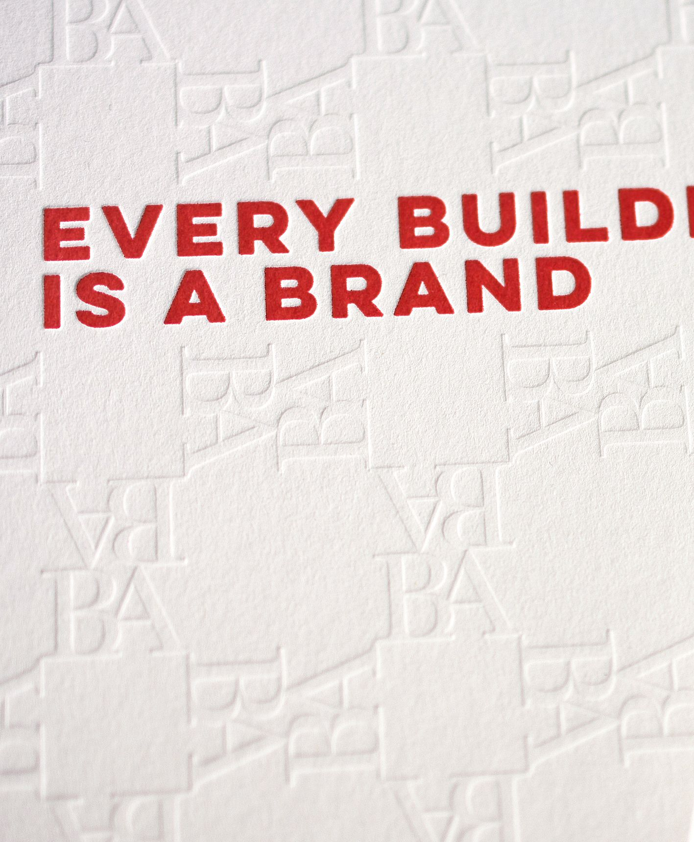 "Letterpress Detail Notepad Cover ""Every building is a brand"" for ""Branded Adresses"" Paper: Fedrigoni Materica Gesso  