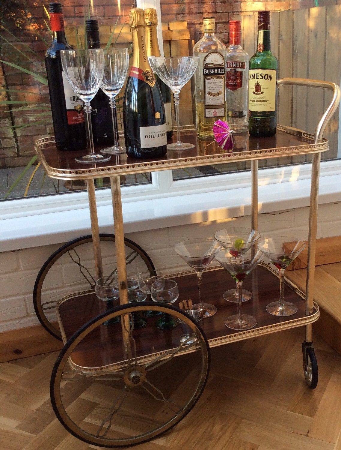 Fresh Wood and Brass Bar Cart