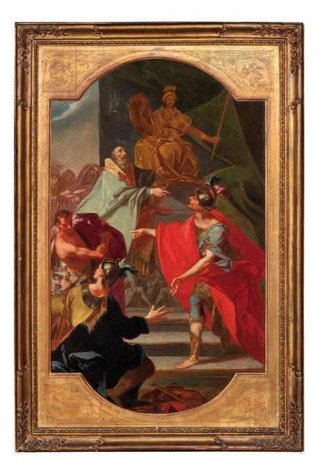 CLAUDIO FRANCESCO BEAUMONT (Torino, 1694 1766)Consacrazione delle spoglie dei Galati al Santuario di AtenaOlio su tela, cm 86X52