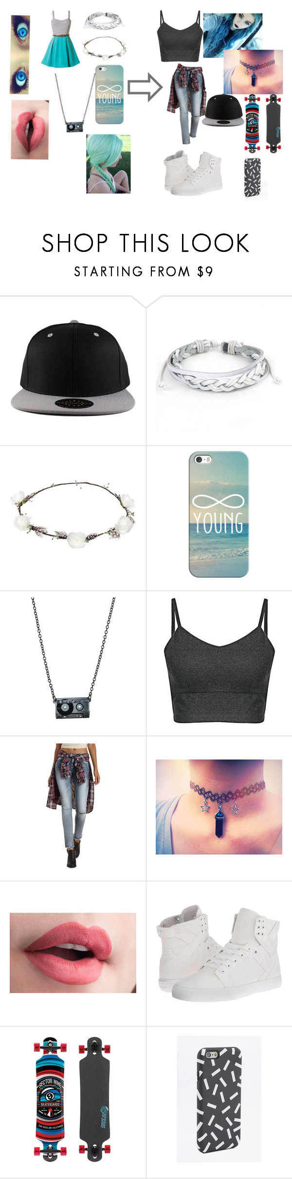 """Girly Girl To Swag Girl"" by sidemenfangirlforlife ❤ liked on Polyvore featuring West Coast Jewelry, Lipsy, Casetify, Refuge, Supra, Sector 9 and Swag My Case"