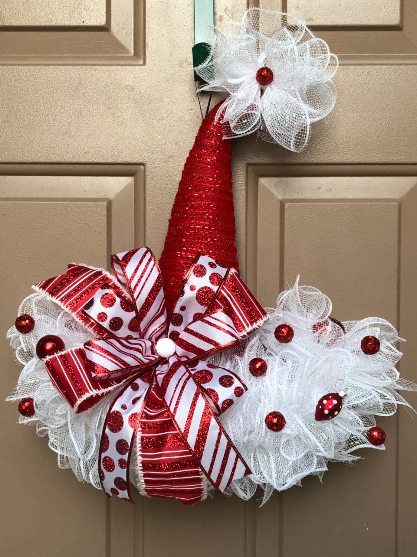 Photo of Christmas hat, Christmas wreath, Christmas hat wreath, holiday wreath, Christmas door hanger, Christmas decor