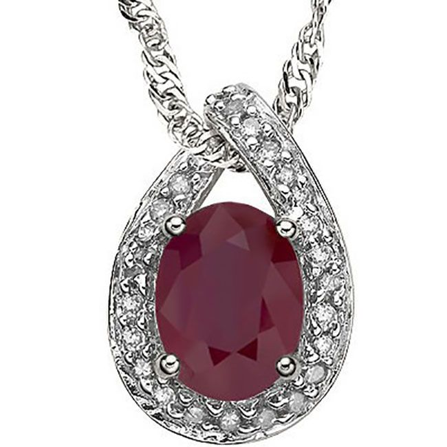 GENUINE .60 RUBY PEDANT STERLING NECKLACE