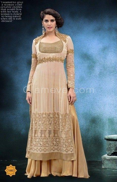 ebd02cc4e8a Cream   Beige Designer Palazzo Suit - Glameve  Buy Indian Dresses Online