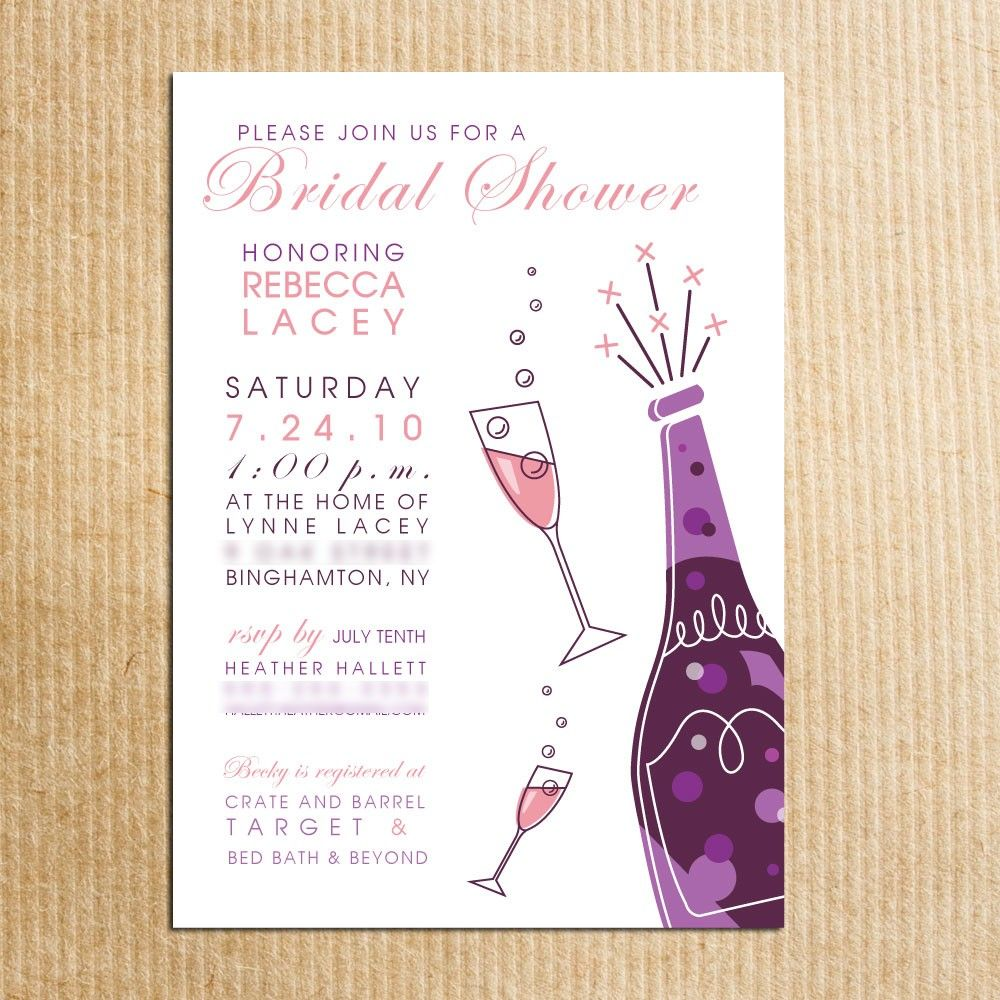 Bridal Shower Invitations Purple Champagne Glass Bottle