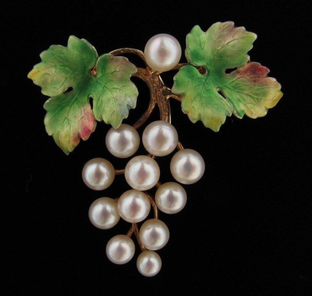Antique Krementz 14k Gold Enamel Pearl Grapes Brooch Pin Pendant