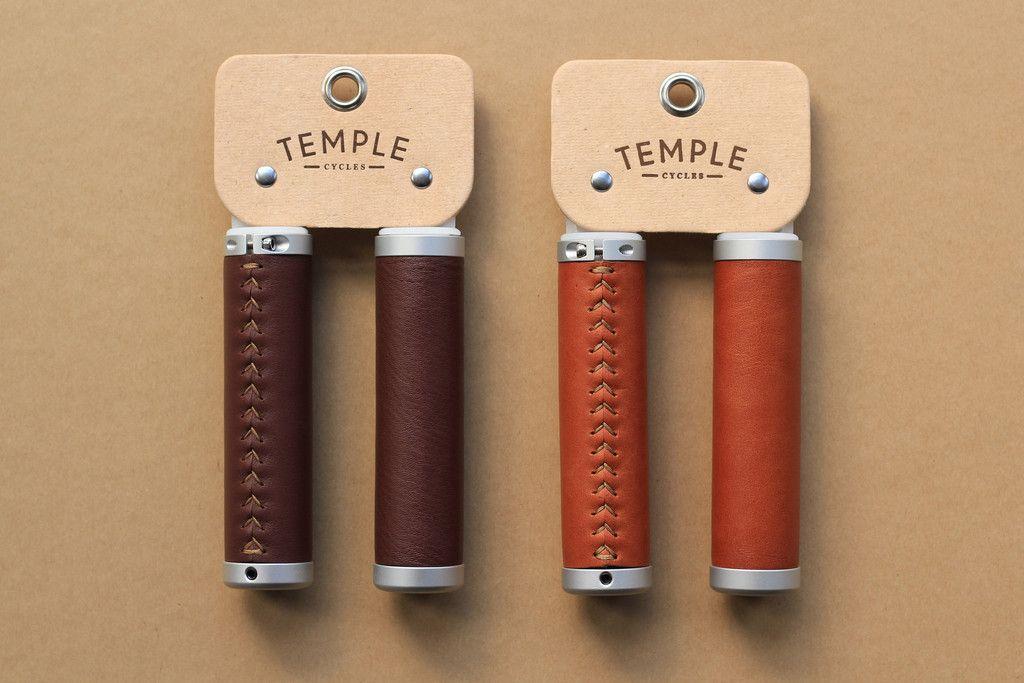 Temple Premium Leather Grips Dark Brown Leather Bicycle Bike Modern Bike