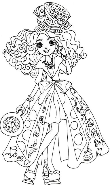 Free printable ever after high coloring pages madeline hatter way too wonderland ever after high coloring page