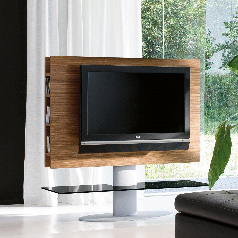 Cortes schwenkbares TV Ständer mit Paneel aus Holz mit dicken lateralen Regalen und Glasplatte Verschiedene Ausführungen erhältlich