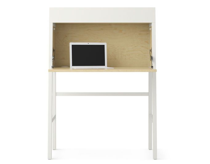 The ikea ps bureau with the leaf folded down and a laptop on