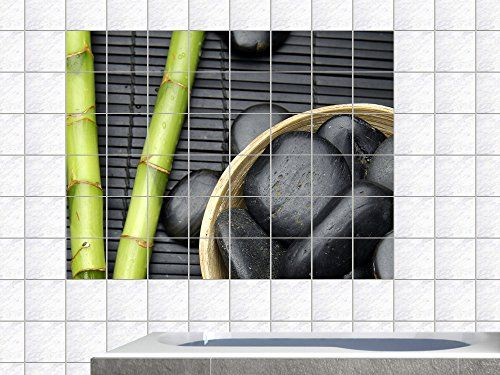 Fliesenaufkleber Fliesenbild Bambus und Massagesteine Hot Stone - aufkleber für küchenschränke
