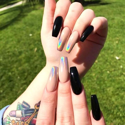16 Trendy Coffin Nail Art Ideas You Ll Love All Day Fash With Images Cute Acrylic Nails Elegant Nail Art Holographic Nails