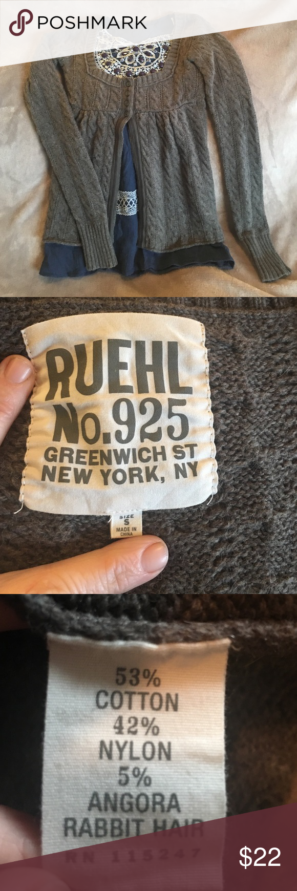 Ruehl No.925 angora blend cardigan. So soft! Lovely, densely knit, angora blend cardigan; perfect for the cooler weather. I wish I were still a size small, but then, you wouldn't be getting this out of my closet, lol! Ruehl No. 925 Sweaters Cardigans