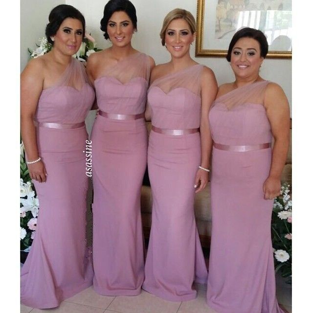 Click To Buy 2017 Dusty Rose Pink Bridesmaid Dresses One Shoulder