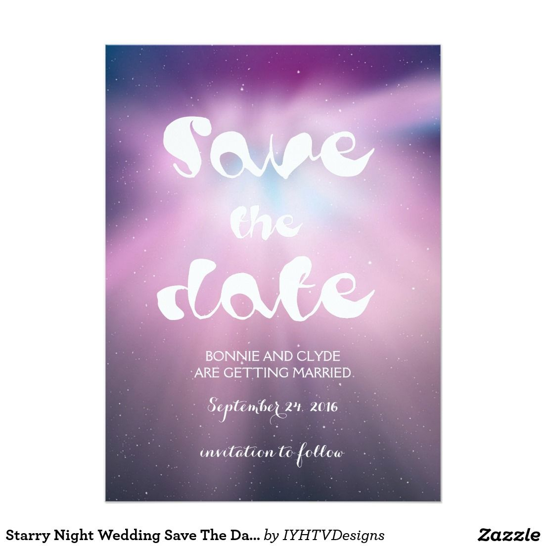 Starry Night Wedding Save The Date 5 5 X 7 5 Invitation Card