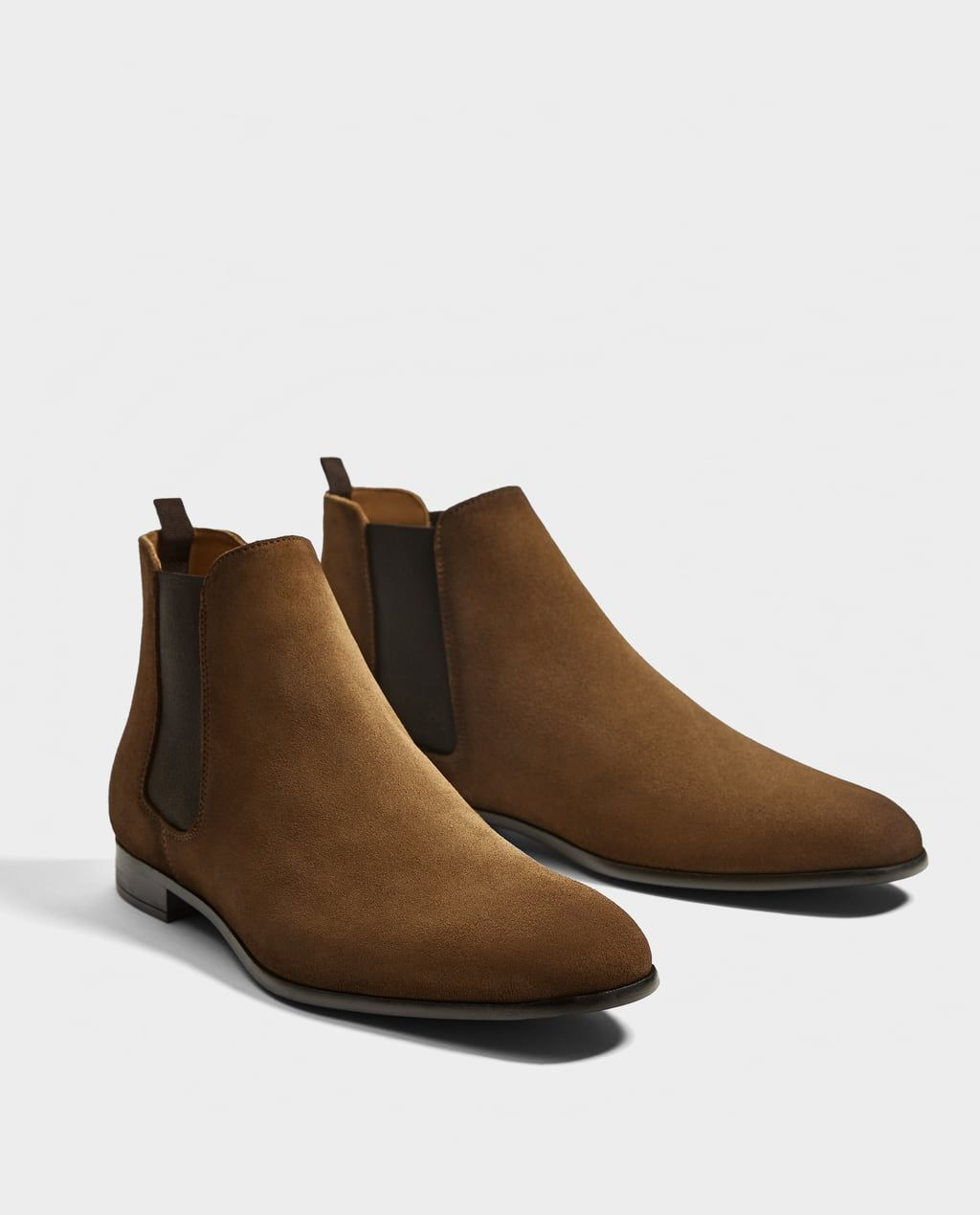 BROWN SPLIT SUEDE ANKLE BOOTS-Boots and ankle boots-SHOES-MAN | ZARA United  States