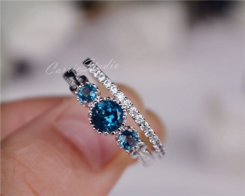Delicate Natural London Blue Topaz Ring Set Topaz Engagement Ring