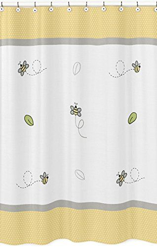 Yellow Gray And White Honey Bumble Bee Bathroom Fabric Bath
