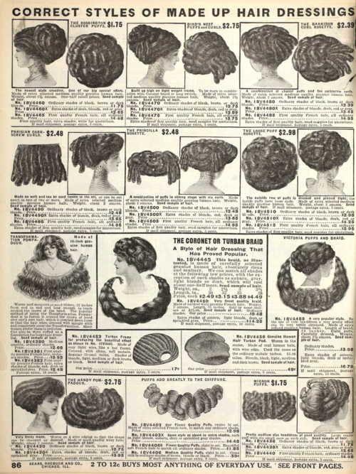 Fall 1910 Sears catalog. Perhaps false hair is a viable, historical option.