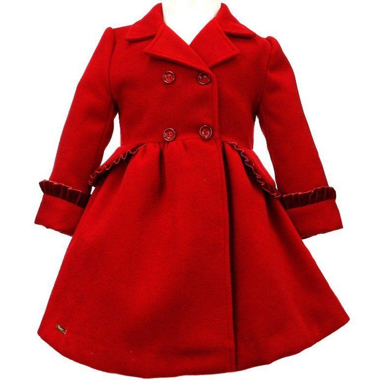 106ff6dab Abrigo niña rojo elegante   abrigos niña   Abrigos para niñas ...