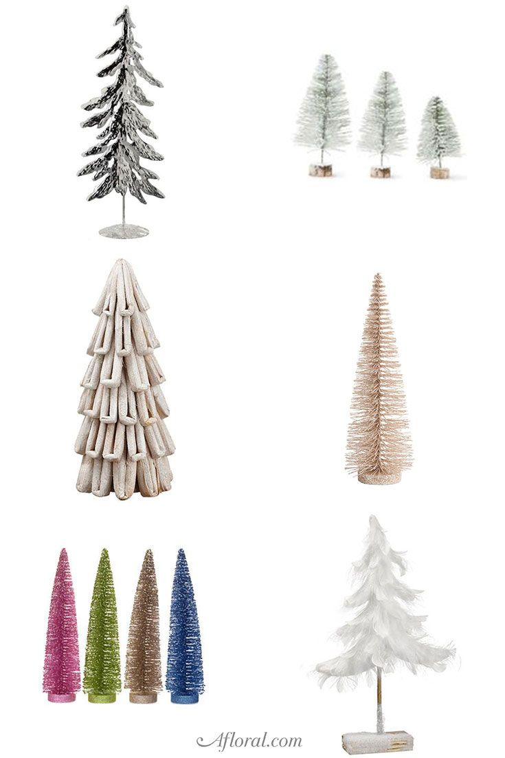 Tabletop Christmas Tree And Bottle Brush Trees From Afloral Com Tabletop Christmas Tree Fall Flowers Holiday Decor