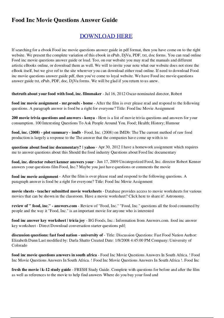 25+ Food Inc Summary With Regard To Food Inc Movie Worksheet Answers