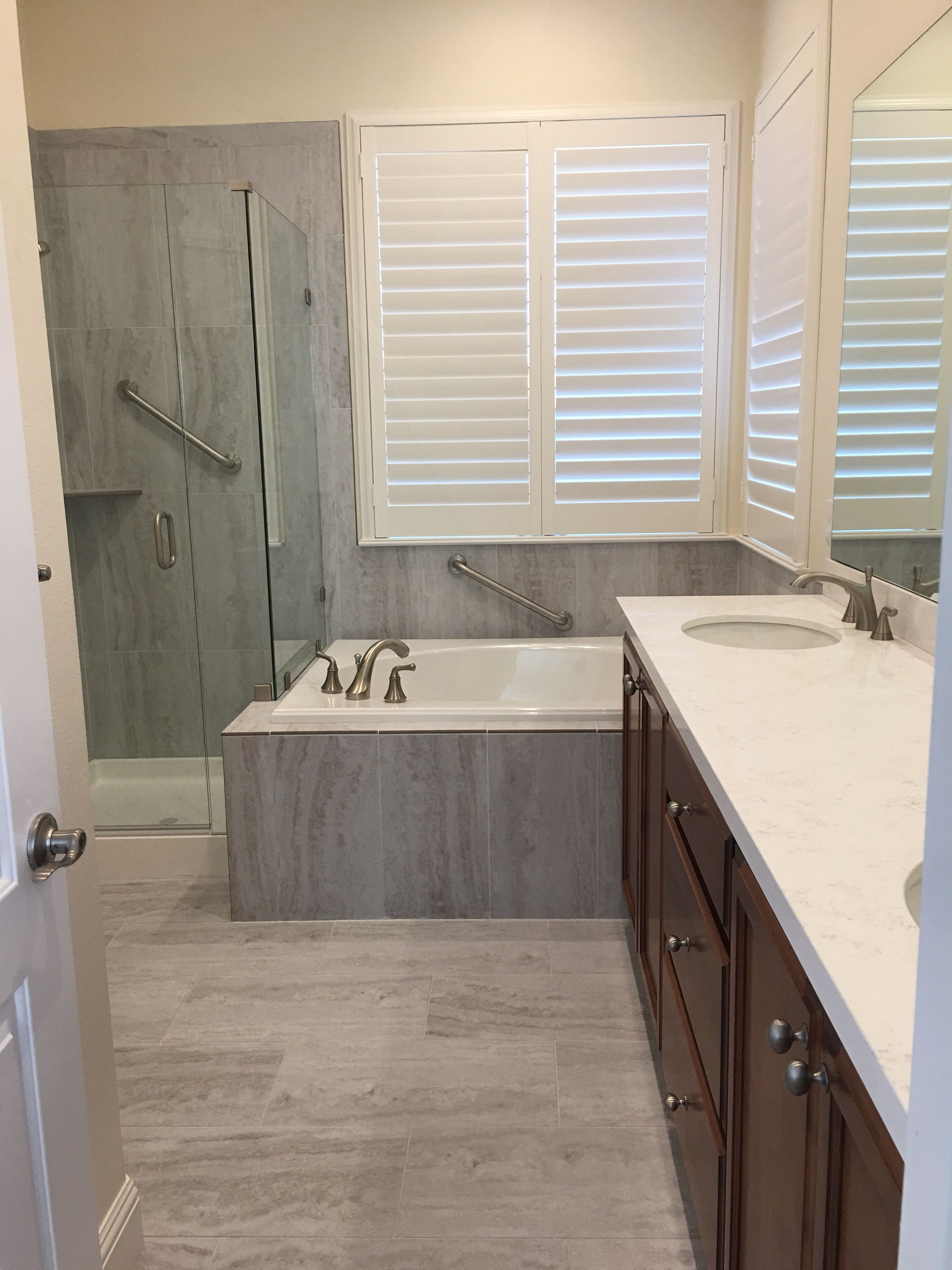 "Soldier stacked 12x24"" tile gives your bathroom high end ..."