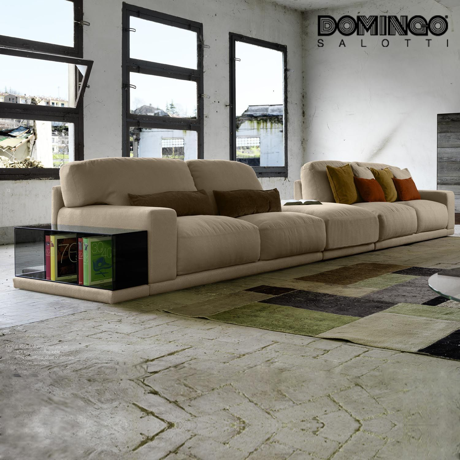 Modern Italian modular sofa available in various upholsteries and
