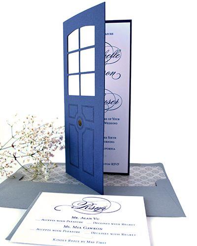 Type A Invitations - Blue Door Wedding #custominvitation #diecut #oneofakind #secretwedding #weddinginvitation