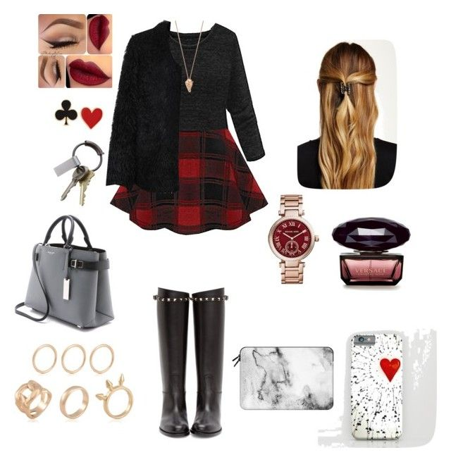 """""""Let's do monday!"""" by iammelikeyou ❤ liked on Polyvore featuring moda, LE3NO, Pamela Love, Michael Kors, Valentino, CB2, Natasha Accessories, Alison Lou e Casetify"""