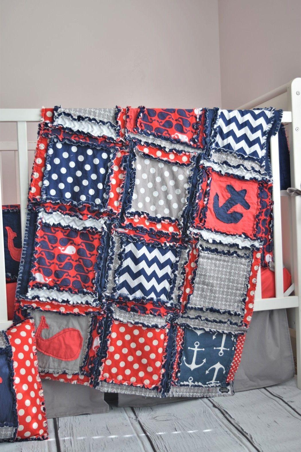 nautical boys crib bedding for baby nursery red navy blue gray