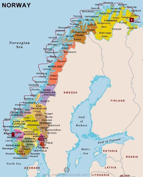 routekaart map hurtigruten norway REIZEN