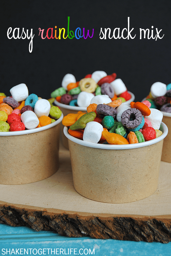 Easy Rainbow Snack Mix | Shaken Together