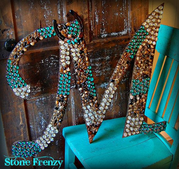 Western Home Decor: Monogram Wooden Letter M 24 With Rustic Horse Shoe By